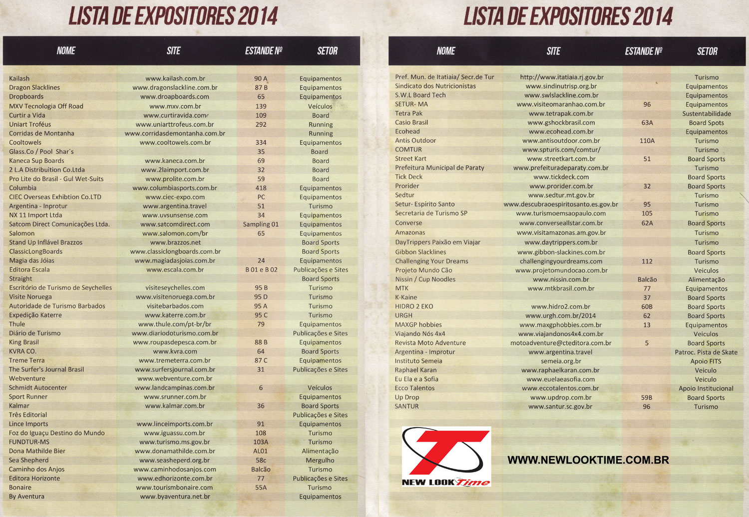 Lista dos Expositores da Adventure Sports Fair 2014 - New Look Time